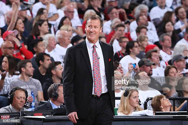 Head coach Terry Stotts of the Portland Trail Blazers looks on during the game against the Los Angeles Clippers in Game Six of the Western Conference...