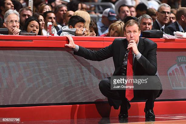 Head Coach Terry Stotts of the Portland Trail Blazers looks on during the game against the LA Clippers on November 09 2016 at STAPLES Center in Los...