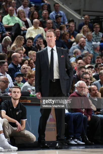 Head Coach Terry Stotts of the Portland Trail Blazers looks on during the game against the Utah Jazz on November 1 2017 at vivintSmartHome Arena in...