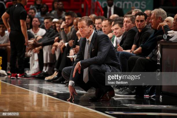 Head Coach Terry Stotts of the Portland Trail Blazers looks on during the game against the Miami Heat on December 13 2017 at American Airlines Arena...