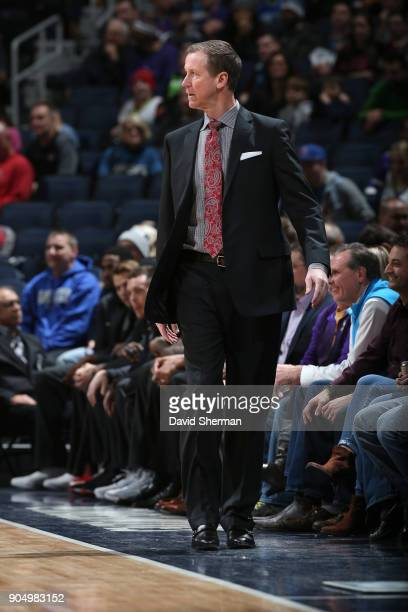Head Coach Terry Stotts of the Portland Trail Blazers looks on during the game against the Minnesota Timberwolves on January 14 2018 at Target Center...