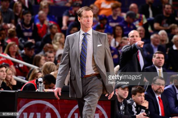 Head Coach Terry Stotts of the Portland Trail Blazers looks on during the game against the Phoenix Suns on February 24 2018 at Talking Stick Resort...