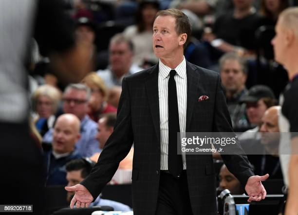 Head coach Terry Stotts of the Portland Trail Blazers looks on from the sideline in the second half of their 112103 loss to the Utah Jazz at Vivint...