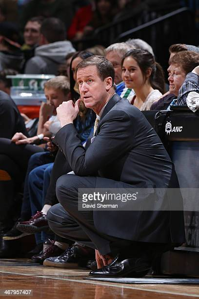 Head Coach Terry Stotts of the Portland Trail Blazers looks on against the Minnesota Timberwolves during the game on February 8 2014 at Target Center...