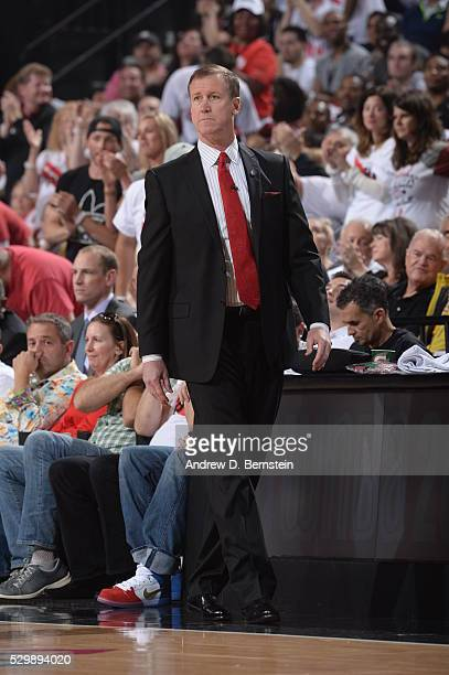 Head Coach Terry Stotts of the Portland Trail Blazers looks on against the Golden State Warriors in Game Four of the Western Conference Semifinals...