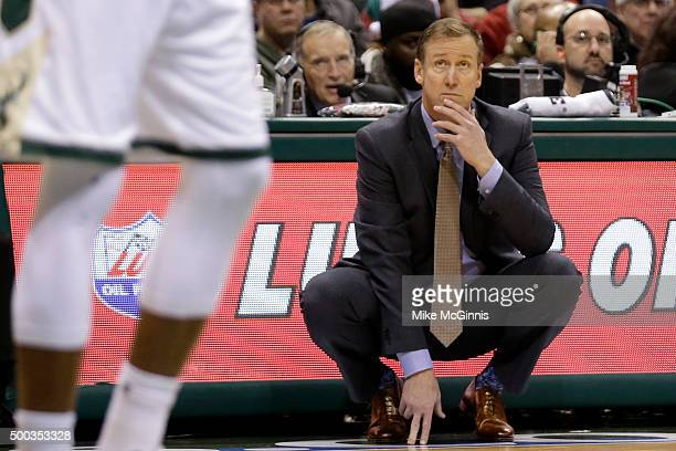 Head Coach Terry Stotts of the Portland Trail Blazers on the sidelines during the second quarter against the Milwaukee Bucks at BMO Harris Bradley...