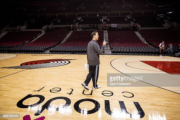 Head Coach Terry Stotts of the Portland Trail Blazers participates in team practice March 31 2015 at the Moda Center Arena in Portland Oregon NOTE TO...