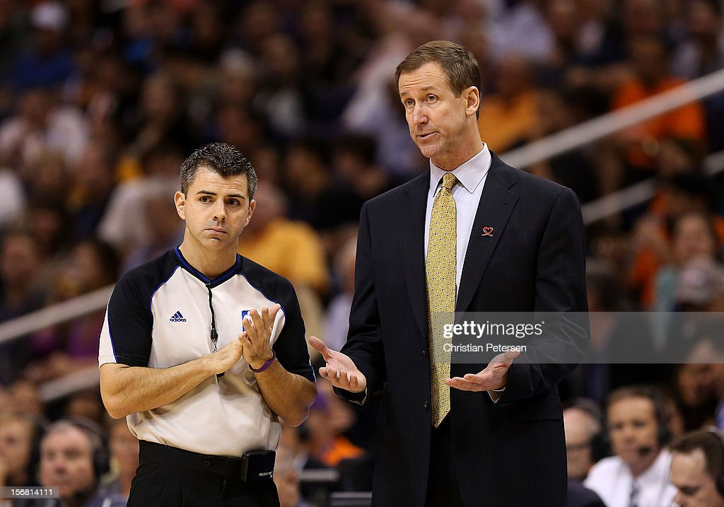 Head coach Terry Stotts of the Portland Trail Blazers reacts to referee Eli Roe during the NBA game against the Phoenix Suns at US Airways Center on November 21, 2012 in Phoenix, Arizona.