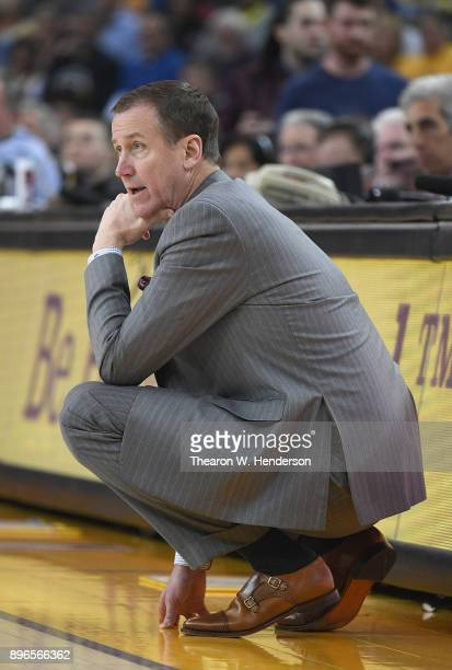 Head coach Terry Stotts of the Portland Trail Blazers reacts to the action on the court against the Golden State Warriors during an NBA basketball...