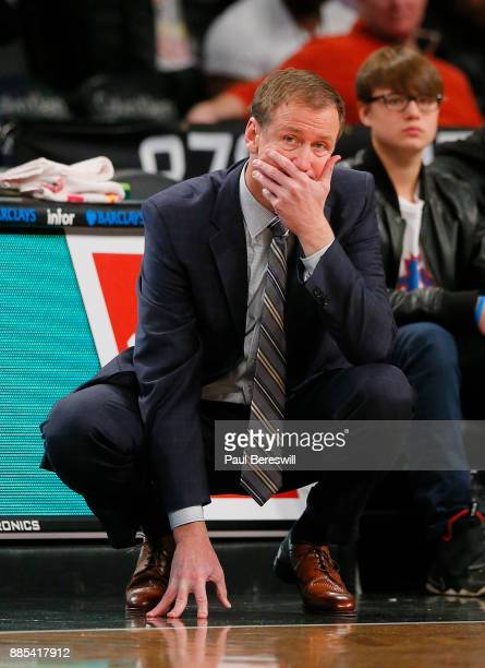 Head Coach Terry Stotts of the Portland Trail Blazers watches his team in an NBA basketball game against the Brooklyn Nets on November 24 2017 at...