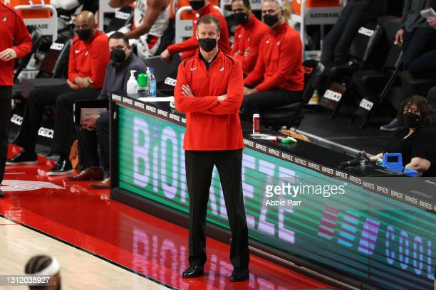 Head Coach Terry Stotts of the Portland Trail Blazers watches play in the second quarter against the Miami Heat at Moda Center on April 11, 2021 in...