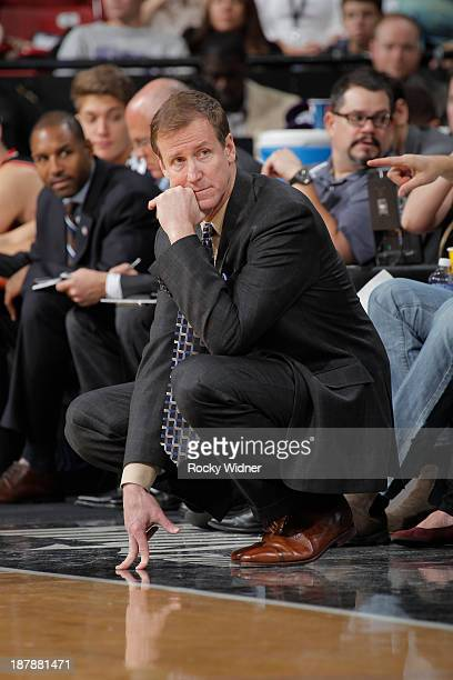 Head Coach Terry Stotts of the Portland Trailblazers during the game against the Sacramento Kings on November 9 2013 at Sleep Train Arena in...
