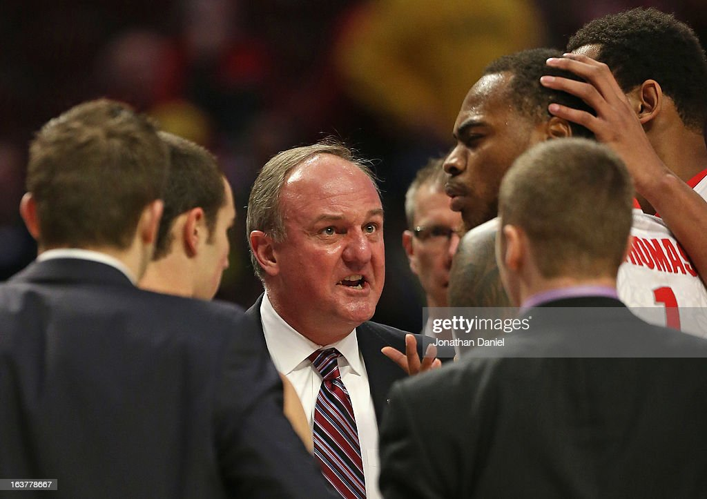 Head coach Thad Matta of the Ohio State Buckeyes scolds Deshaun Thomas #1 while playing against the Nebraska Cornhuskers during a quarterfinal game of the Big Ten Basketball Tournament at the United Center on March 15, 2013 in Chicago, Illinois.