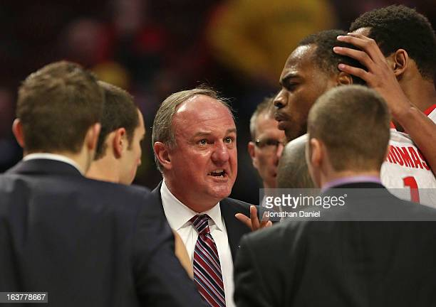 Head coach Thad Matta of the Ohio State Buckeyes scolds Deshaun Thomas while playing against the Nebraska Cornhuskers during a quarterfinal game of...
