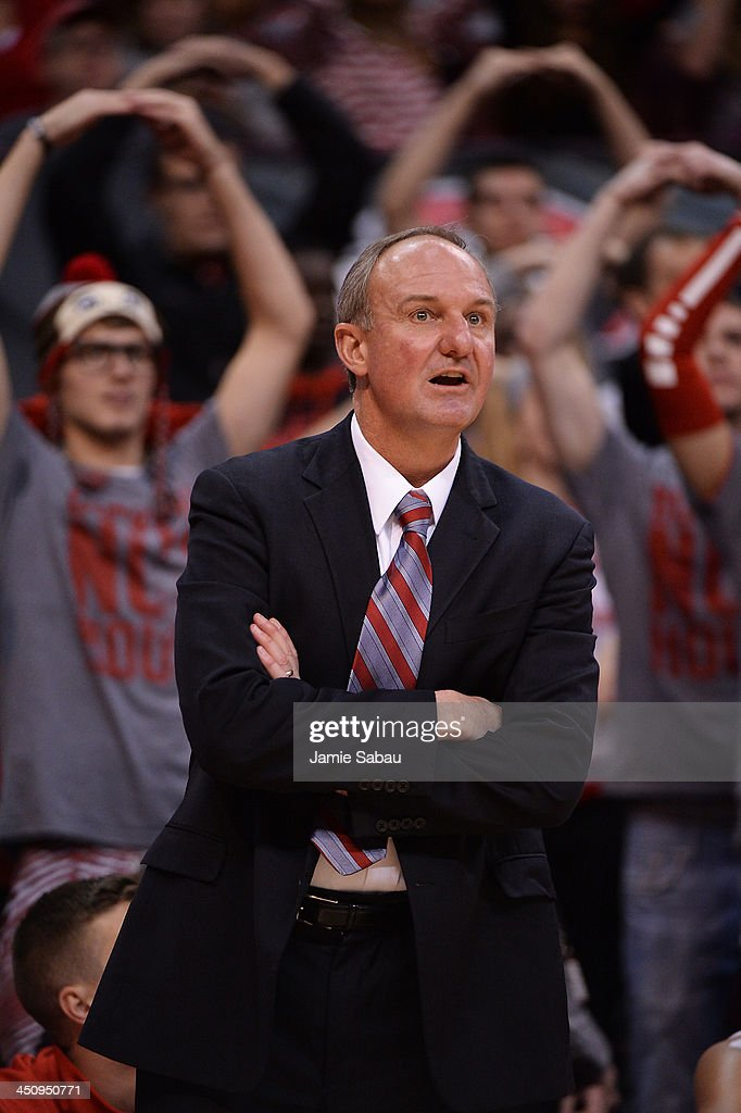 Head Coach Thad Matta of the Ohio State Buckeyes watches his team play the American Eagles in the second half on November 20, 2013 at Value City Arena in Columbus, Ohio. Ohio State defeated American 63-52.