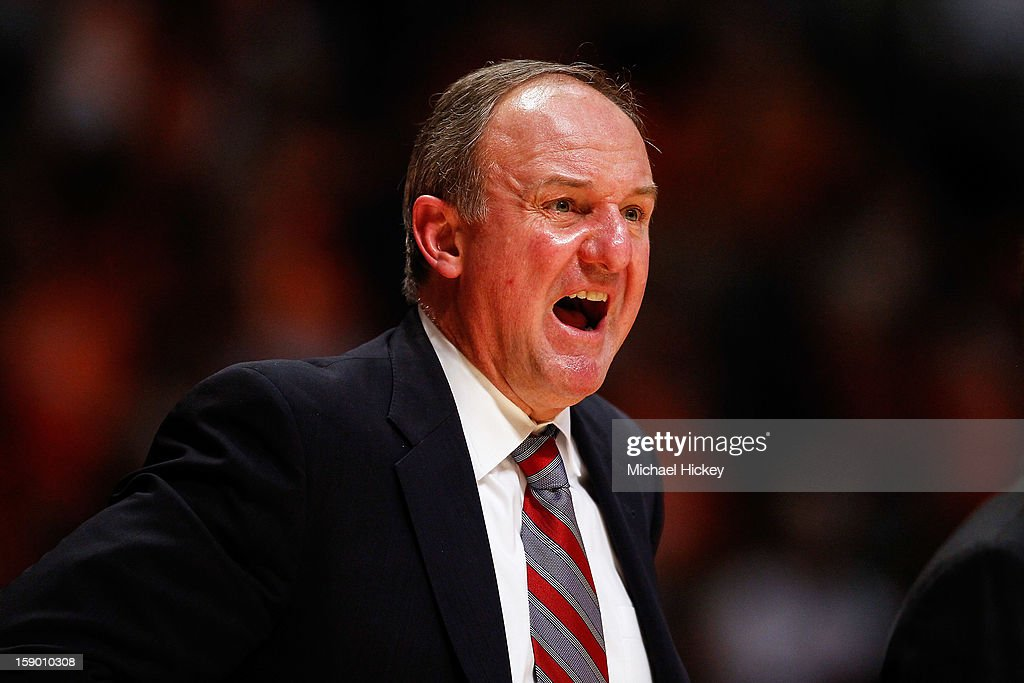Head coach Thad Matta of the Ohio State Buckeyes yells on the sidelines during the game against the Illinois Fighting Illini at Assembly Hall on January 5, 2013 in Champaign, Illinois. Ilinois defeated Ohio State 74-55.