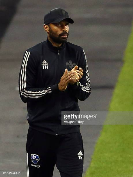Head Coach Thierry Henry of Montreal Impact applauds during the second half of an MLS game against Toronto FC at BMO Field on September 01 2020 in...