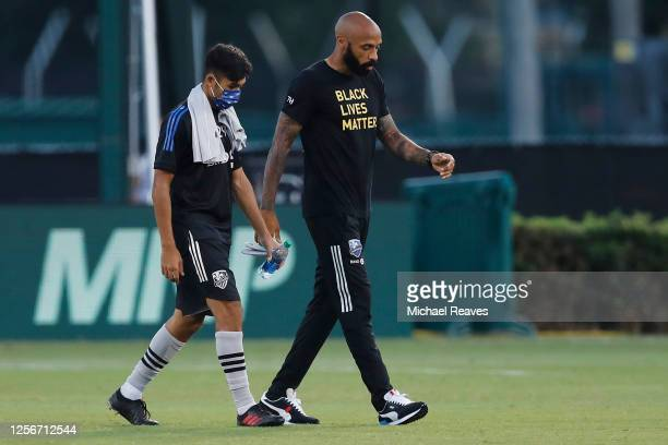 Head coach Thierry Henry of Montreal Impact takes the field prior to a Group C match against Toronto FC as part of the MLS Is Back Tournament at ESPN...