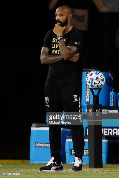 Head coach Thierry Henry of the Montreal Impact looks on against DC United during a Group C match as part of the MLS Is Back Tournament at ESPN Wide...