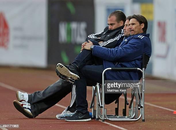 Head coach Thomas Brdaric of Neustrelitz shows his frustration after loosing the 3 Liga playoff leg 1 match between TSG Neustrelitz and 1FSV Mainz 05...