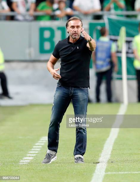 Head coach Thomas Doll of Ferencvarosi TC reacts during the UEFA Europa League First Qualifying Round 1st Leg match between Ferencvarosi TC and...