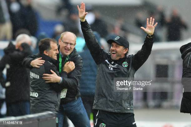 Head coach Thomas Doll of Hannover celebrates after winning the Bundesliga match between Hannover 96 and 1. FSV Mainz 05 at HDI-Arena on April 27,...