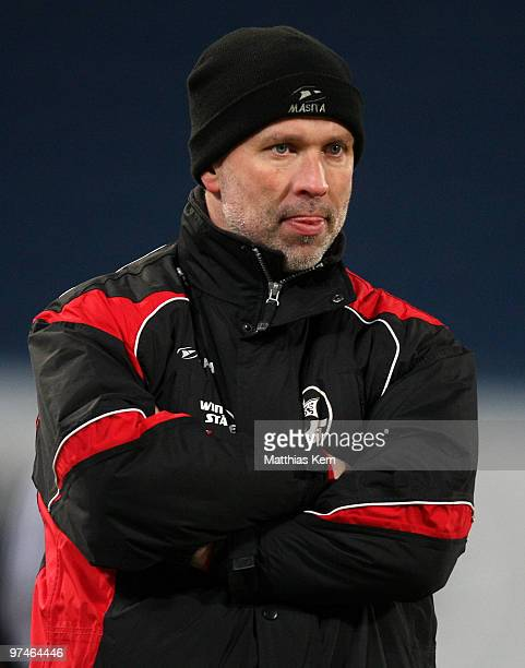 Head coach Thomas Finck of Rostock is seen during the Second Bundesliga match between FC Hansa Rostock and RotWeiss Ahlen at the DKB Arena on March 5...