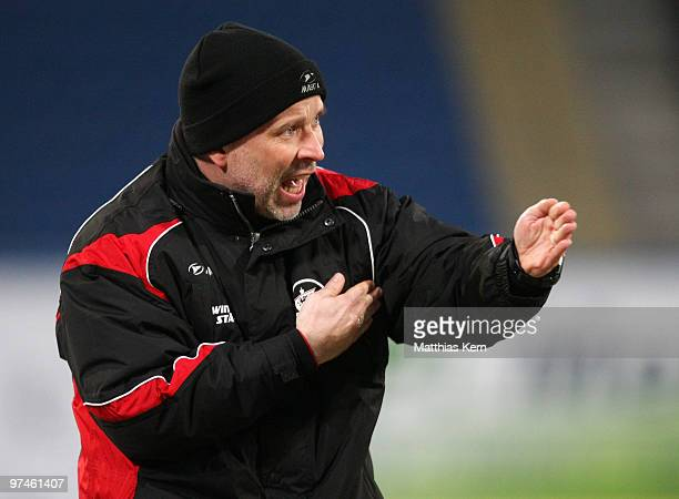 Head coach Thomas Finck of Rostock reacts during the Second Bundesliga match between FC Hansa Rostock and RotWeiss Ahlen at the DKB Arena on March 5...