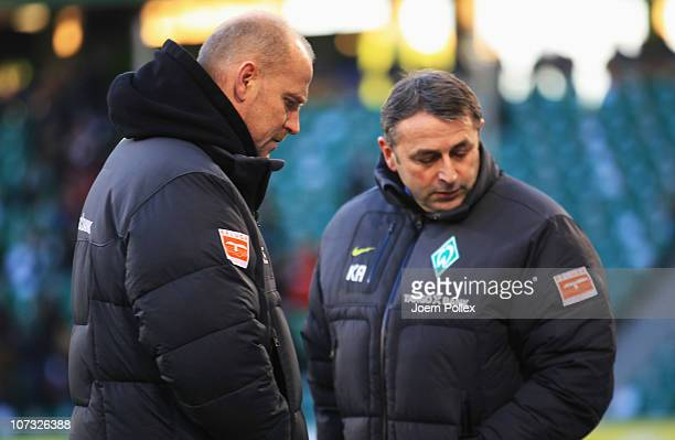 Head coach Thomas Schaaf and manager Klaus Allofs of Bremen are seen prior to the Bundesliga match between VfL Wolfsburg and SV Werder Bremen at...