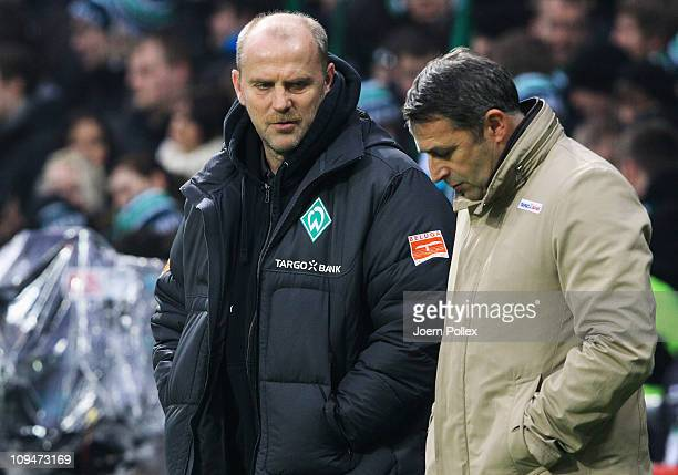 Head coach Thomas Schaaf and manager Klaus Allofs of Bremen are seen prior to the Bundesliga match between Werder Bremen and Bayer Leverkusen at...