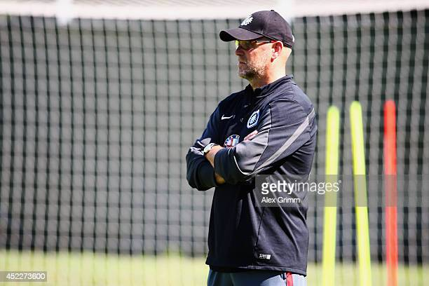 Head coach Thomas Schaaf looks on during an Eintracht Frankfurt training session at Commerzbank Arena on July 17 2014 in Frankfurt am Main Germany