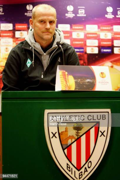 Head coach Thomas Schaaf of Bremen attends the press conference at the Estadio San Mames on December 15 2009 in Bilbao Spain