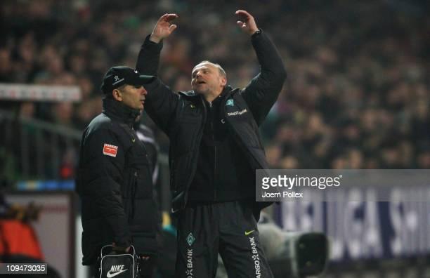 Head coach Thomas Schaaf of Bremen gestures during the Bundesliga match between Werder Bremen and Bayer Leverkusen at Weser Stadium on February 27...