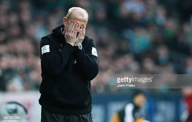 Head coach Thomas Schaaf of Bremen gestures during the Bundesliga match between SV Werder Bremen and VfL Wolfsburg at Weser Stadium on April 20 2013...