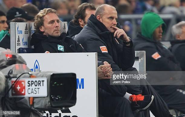 Head coach Thomas Schaaf of Bremen is pictured during the Bundesliga match between FC Schalke 04 and SV Werder Bremen at Veltins Arena on November 20...