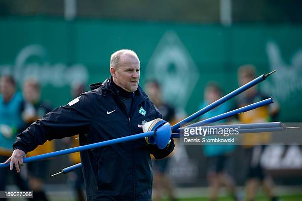 Head coach Thomas Schaaf of Bremen reacts during a training session at day two of the Werder Bremen Training Camp on January 6 2013 in Belek Turkey