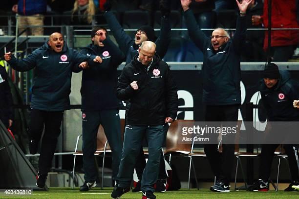 Head coach Thomas Schaaf of Frankfurt celebrates after the Bundesliga match between Eintracht Frankfurt and FC Schalke 04 at CommerzbankArena on...