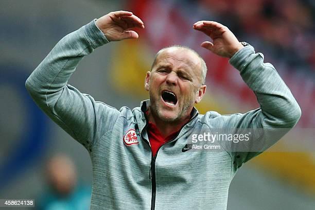 Head coach Thomas Schaaf of Frankfurt reacts during the Bundesliga match between Eintracht Frankfurt and FC Bayern Muenchen at CommerzbankArena on...