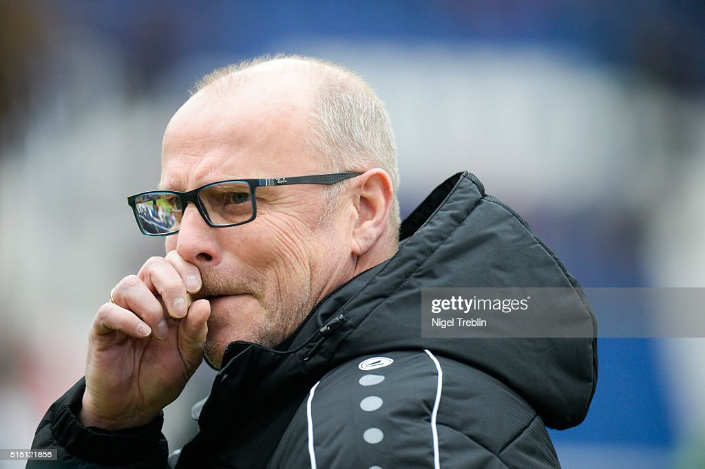Head coach Thomas Schaaf of Hannover is pictured prior to the Bundesliga match between Hannover 96 and 1. FC Koeln at HDI-Arena on March 12, 2016 in Hanover, Germany.