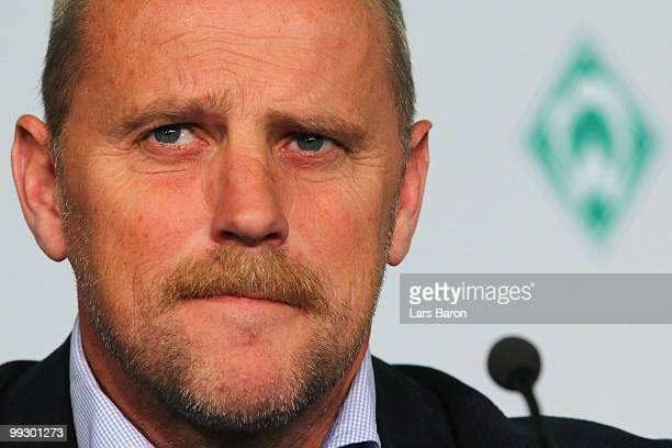 Head coach Thomas Schaaf of Werder Bremen looks on during a press conference prior to the German cup final at the Olympiastadion on May 14 2010 in...