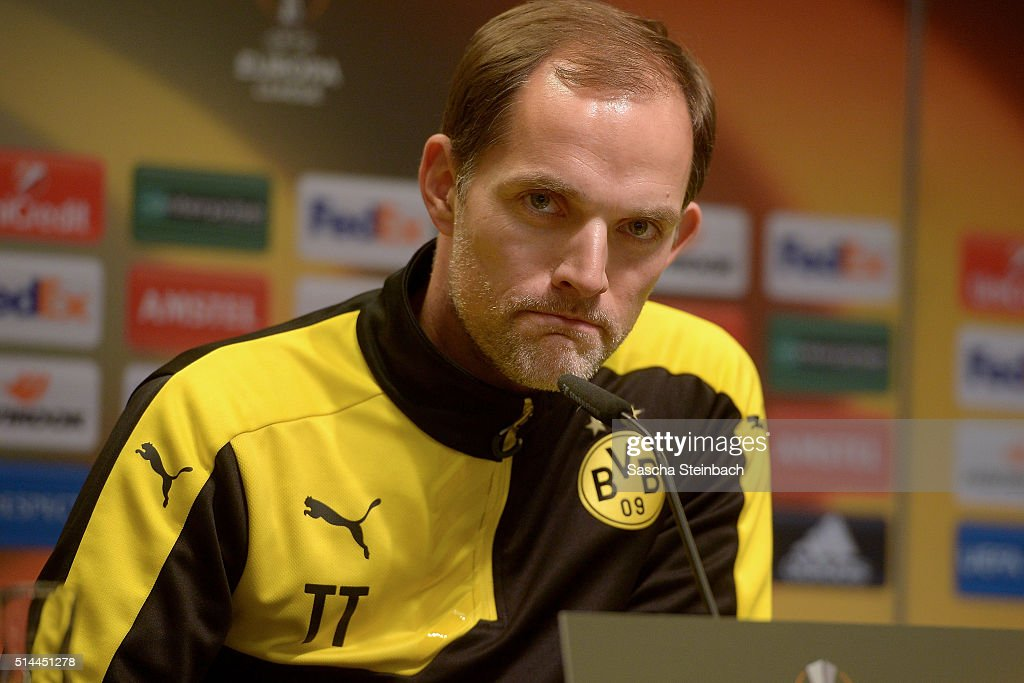 Head coach Thomas Tuchel looks on during the Borussia Dortmund press conference prior to the UEFA Europa League match between Borussia Dortmund and Tottenham Hotspur FC at Signal Iduna Park on March 9, 2016 in Dortmund, Germany.
