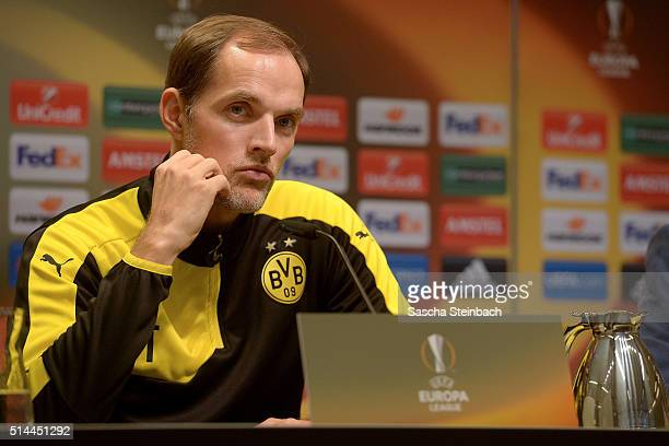 Head coach Thomas Tuchel looks on during the Borussia Dortmund press conference prior to the UEFA Europa League match between Borussia Dortmund and...