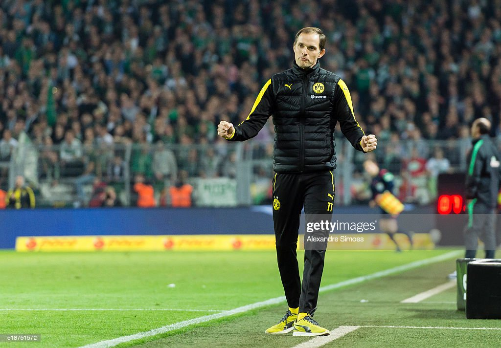 Head coach Thomas Tuchel of Borussia Dortmund celebrates the win after the final whistle during the Bundesliga match between Borussia Dortmund and Werder Bremen at Signal Iduna Park on April 02, 2016 in Dortmund, Germany.