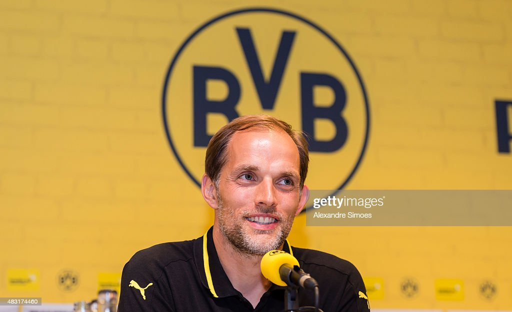 Head coach Thomas Tuchel of Borussia Dortmund during the press conference after the UEFA Europa League: Third Qualifying Round 2nd Leg match between Borussia Dortmund and Wolfsberg at Signal Iduna Park on August 06, 2015 in Dortmund, Germany.