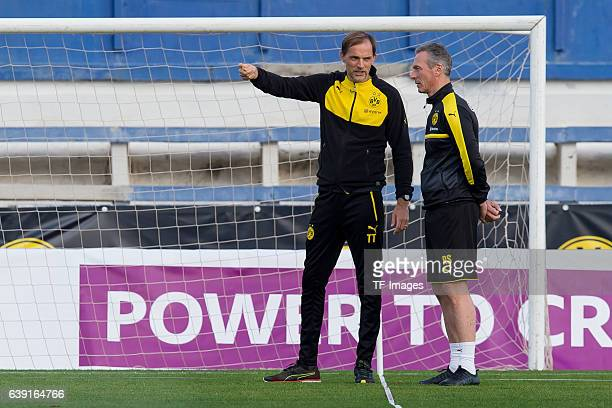 Head coach Thomas Tuchel of Borussia Dortmund gestures and Rainer Schrey during the sixth day of the training camp in Marbella on January 10 2017 in...