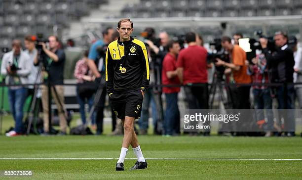 Head coach Thomas Tuchel of Borussia Dortmund looks on during the Borussia Dortmund training session at Olympiastadion on May 20 2016 in Berlin...