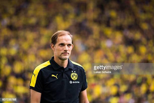 Head Coach Thomas Tuchel of Dortmund is seen prior to the Bundesliga match between Borussia Dortmund and SV Darmstadt 98 at Signal Iduna Park on...