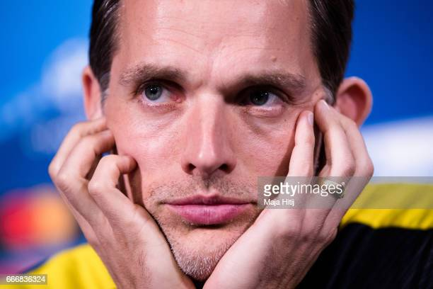 Head coach Thomas Tuchel of Dortmund looks on during a press conference prior the UEFA Champions League Quarter Final First Leg match between...