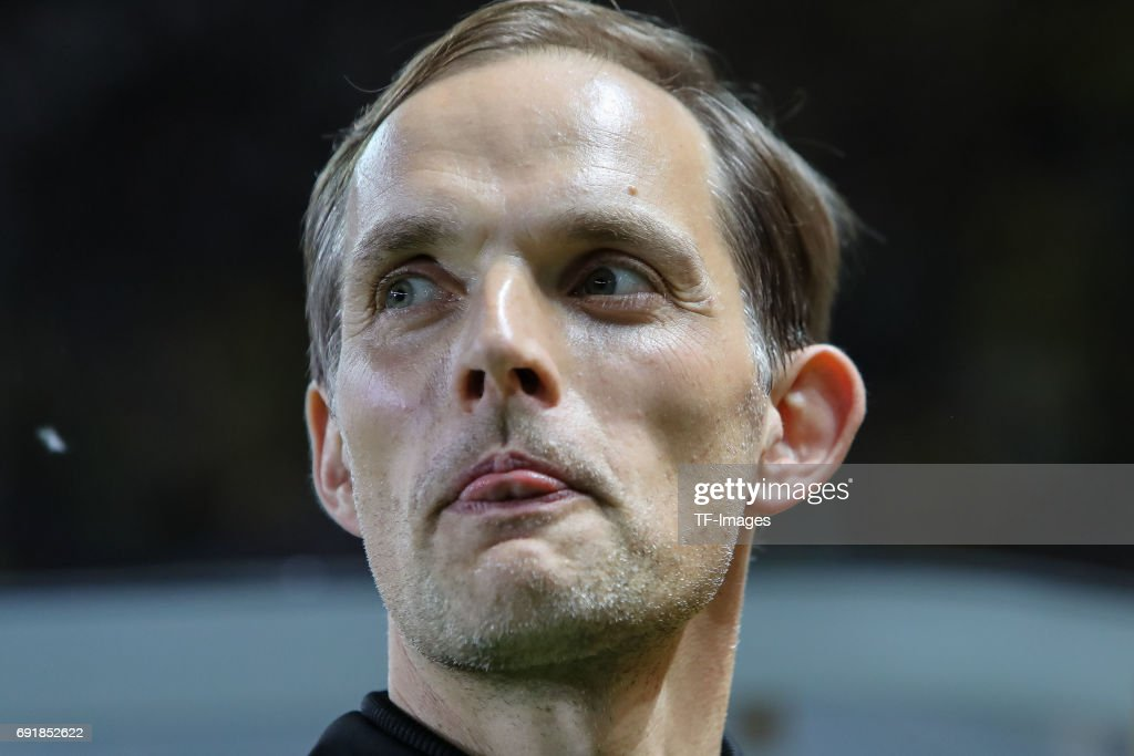 Head coach Thomas Tuchel of Dortmund looks on during the DFB Cup final match between Eintracht Frankfurt and Borussia Dortmund at Olympiastadion on May 27, 2017 in Berlin, Germany.