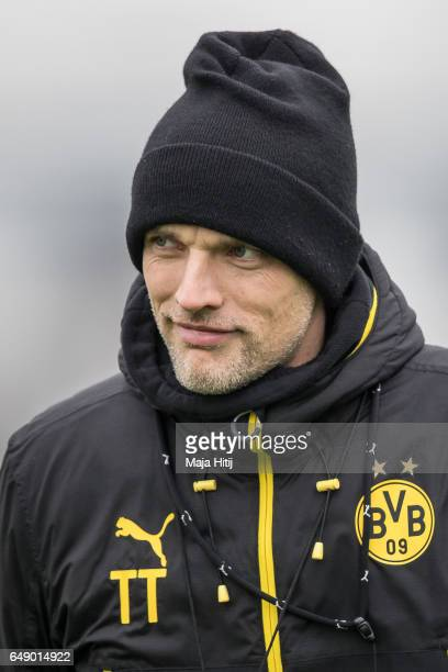 Head coach Thomas Tuchel of Dortmund looks on during the training of Borussia Dortmund ahead of the UEFA Champions League Round of 16 second leg...